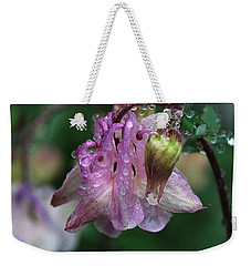 Weekender Tote Bag featuring the photograph Dewey Morning Columbine by Susan Capuano