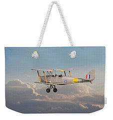 Weekender Tote Bag featuring the digital art Dh Tiger Moth - 'first Steps' by Pat Speirs