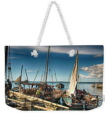 Dhow Sailing Boat Weekender Tote Bag by Amyn Nasser