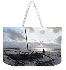 Dhow Wooden Boats At Sunrise With Fisherman Weekender Tote Bag