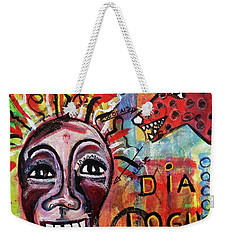 Weekender Tote Bag featuring the mixed media Dialogue Between Red Dawg And Wildwoman-self by Mimulux patricia no No