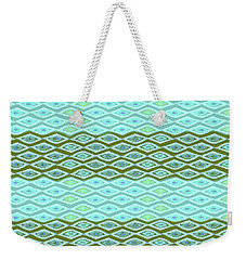 Diamond Bands Aqua Olive Weekender Tote Bag