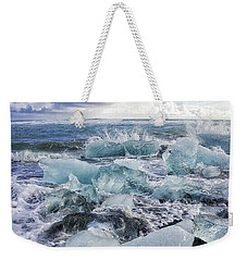 Weekender Tote Bag featuring the photograph Diamond Beach Blue Ice In Iceland by Matthias Hauser