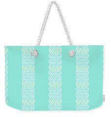 Diamond Rain Teal Stripes Weekender Tote Bag