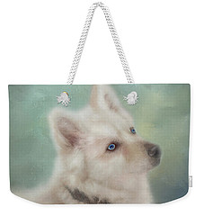 Weekender Tote Bag featuring the mixed media Diamond, The White Shepherd by Colleen Taylor