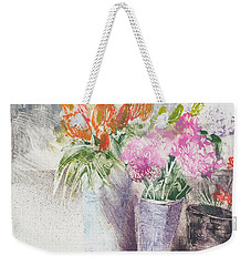 Dianthus And Lilies,floral Still Life Weekender Tote Bag