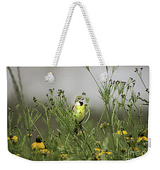 Weekender Tote Bag featuring the photograph Dickcissel With Mexican Hat by Robert Frederick