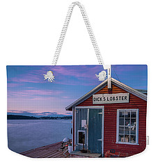Weekender Tote Bag featuring the photograph Dicks Lobsters - Crabs Shack In Maine by Ranjay Mitra