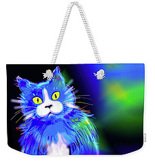 Weekender Tote Bag featuring the painting Diego Blue Dizzycat by DC Langer