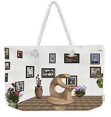 Weekender Tote Bag featuring the mixed media digital exhibitartion _Statue of  girl by Pemaro