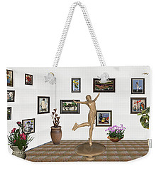 Weekender Tote Bag featuring the mixed media digital exhibition _ A sculpture of a dancing girl 11 by Pemaro