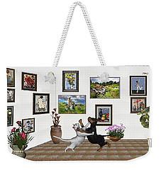 Weekender Tote Bag featuring the mixed media Digital Exhibition _ Dancing Lovers by Pemaro