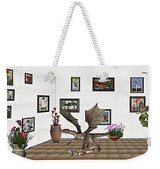 Weekender Tote Bag featuring the mixed media digital exhibition _ Dragon and snake by Pemaro