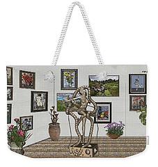 Weekender Tote Bag featuring the mixed media Digital Exhibition _ Modern  Statue 1   Of Dancing Girl by Pemaro