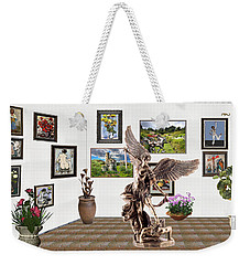 Weekender Tote Bag featuring the mixed media digital exhibition _  sculpture of a Angels and Demons  by Pemaro