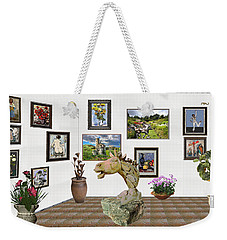 Weekender Tote Bag featuring the mixed media Digital Exhibition _  Sculpture Of A Horse by Pemaro