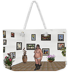 Weekender Tote Bag featuring the mixed media Digital Exhibition  22 Of Posing Lady  by Pemaro