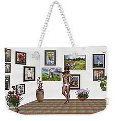 Weekender Tote Bag featuring the mixed media digital exhibition 32 _ posing  Girl 32  by Pemaro