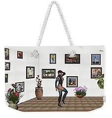 Weekender Tote Bag featuring the mixed media digital exhibition 32  posing  Girl  by Pemaro