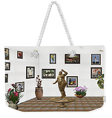 Weekender Tote Bag featuring the mixed media digital exhibition  Statue 25 of posing lady  by Pemaro