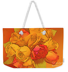 Digital  Rose Bouquet Painting Weekender Tote Bag by Linda Phelps