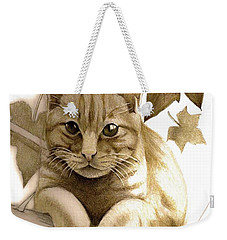 Digitally Enhanced Cat Image Weekender Tote Bag