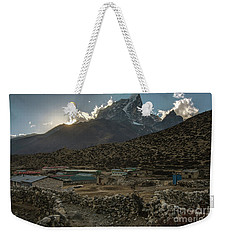 Weekender Tote Bag featuring the photograph Dingboche Evening Sunrays by Mike Reid
