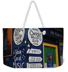 Weekender Tote Bag featuring the photograph Dingle Record Shop by Melinda Saminski