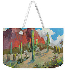 Weekender Tote Bag featuring the painting Dinosaur Mountain by Diane McClary