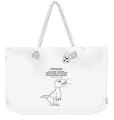 Weekender Tote Bag featuring the drawing Dinosaurs by John Haldane