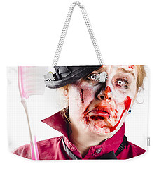Weekender Tote Bag featuring the photograph Diseased Woman With Big Toothbrush by Jorgo Photography - Wall Art Gallery
