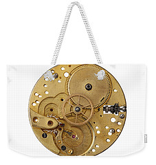 Weekender Tote Bag featuring the photograph Dismantled Clockwork Mechanism by Michal Boubin