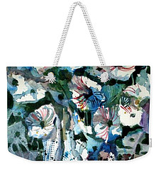 Weekender Tote Bag featuring the painting Disney Petunias by Mindy Newman