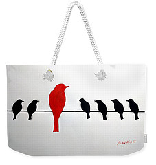 Weekender Tote Bag featuring the painting Dissonant by Edwin Alverio