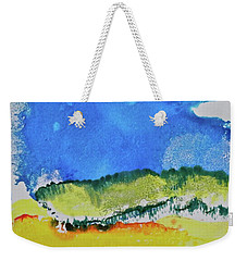 Weekender Tote Bag featuring the painting Distant Peaks by Michele Myers