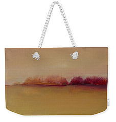 Weekender Tote Bag featuring the painting Distant Red Trees by Michelle Abrams