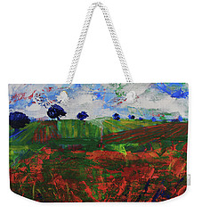 Weekender Tote Bag featuring the painting Distant Vineyards by Walter Fahmy