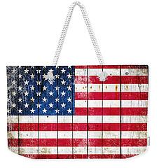 Distressed American Flag On Wood Planks - Horizontal Weekender Tote Bag by M L C