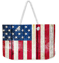 Distressed American Flag On Wood - Vertical Weekender Tote Bag