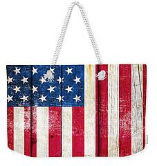 Distressed American Flag On Wood - Vertical Weekender Tote Bag by M L C
