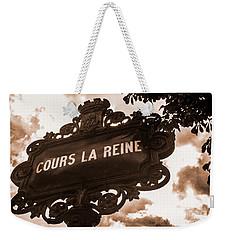 Distressed Parisian Street Sign Weekender Tote Bag
