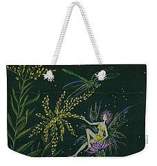Weekender Tote Bag featuring the drawing Ditchweed Fairies Goldenrod And Thistle by Dawn Fairies