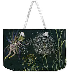 Weekender Tote Bag featuring the drawing Ditchweed Fairy Grasses by Dawn Fairies