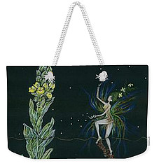 Weekender Tote Bag featuring the drawing Ditchweed Fairy Mullein by Dawn Fairies