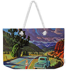 Weekender Tote Bag featuring the painting Divergent Paths by Art West
