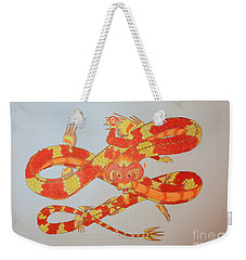 Weekender Tote Bag featuring the drawing Divine Lung- Fire by Wendy Coulson