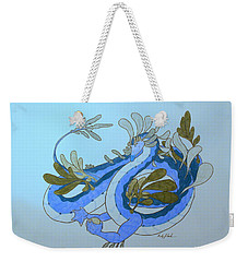 Weekender Tote Bag featuring the drawing Divine Lung- Water by Wendy Coulson