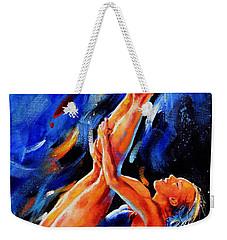 Weekender Tote Bag featuring the painting Diving Diva by Hanne Lore Koehler
