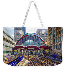 Dlr Canary Wharf And Approaching Train Weekender Tote Bag