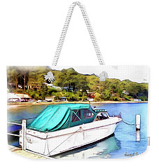 Weekender Tote Bag featuring the photograph Do-00276 Green Boat In Killcare by Digital Oil